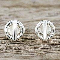 Sterling silver stud earrings, 'Silver Toggles' - Handcrafted Sterling Silver Stud Earrings from Thailand
