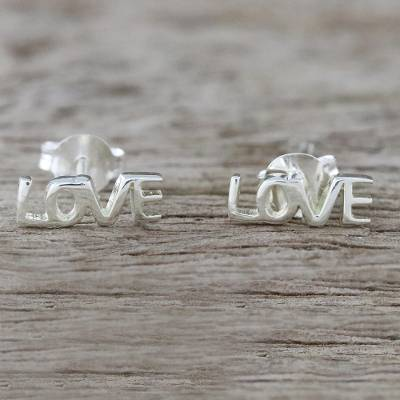 Sterling silver stud earrings, 'Silver Love' - Handcrafted Sterling Silver Love Stud Earrings from Thailand