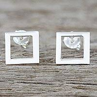 Sterling silver post earrings, 'Simple Squares' - Sterling Silver Square-Shaped Post Earrings from Thailand
