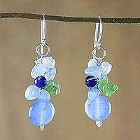 Quartz dangle earrings, 'Soda Bubbles' - Blue Quartz Multi-Gemstone Dangle Earrings from Thailand
