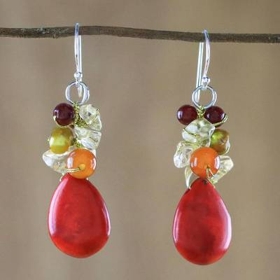 Multi-gemstone dangle earrings, 'Camellia Drops' - Multi-Gemstone Red Calcite Dangle Earrings from Thailand