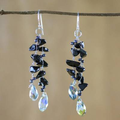 Onyx dangle earrings, 'Crystalline Drops' - Onyx and Glass Bead Dangle Earrings from Thailand
