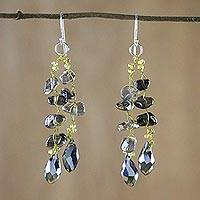 Smoky quartz dangle earrings, 'Crystalline Drops' - Smoky Quartz and Glass Bead Dangle Earrings from Thailand
