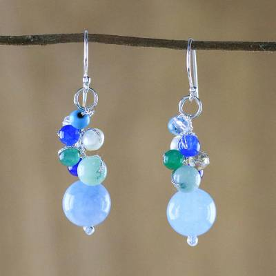 Quartz dangle earrings, 'Happy Bunch' - Blue Quartz Multi-Gemstone Dangle Earrings from Thailand