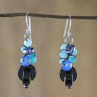 Onyx dangle earrings, 'Tidal Wave in Blue' - Onyx Multi-Gemstone Dangle Earrings from Thailand