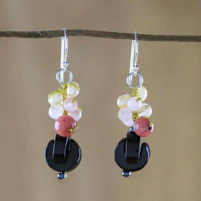 Onyx dangle earrings, 'Tidal Wave in Pink' - Onyx Multi-Gemstone Dangle Earrings from Thailand