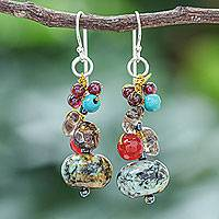 Multi-gemstone dangle earrings, 'Exotic Cluster' - Jasper Multi-Gemstone Dangle Earrings from Thailand