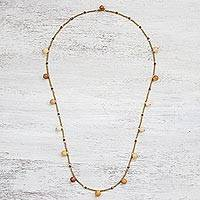 Jasper beaded station necklace, 'Charming Partygoer' - Jasper and Brass Beaded Bracelet from Thailand