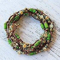 Featured review for Beaded wrap bracelet, Forest Party