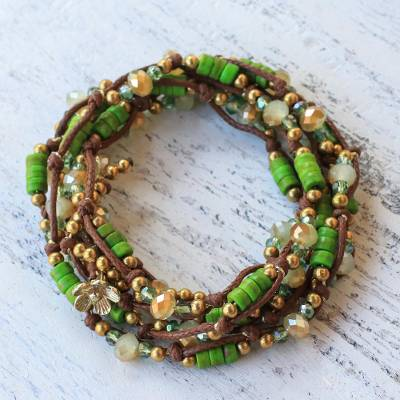 Beaded wrap bracelet, 'Forest Party' - Green Calcite Beaded Wrap Bracelet from Thailand
