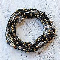 Beaded wrap bracelet, 'Night Party' - Black Beaded Wrap Bracelet from Thailand