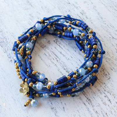 Beaded wrap bracelet, 'Holiday Party' - Blue Calcite and Glass Beaded Wrap Bracelet from Thailand