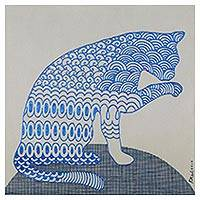 'Make Up' - Signed Cubist Painting of a Cat in Blue from Thailand