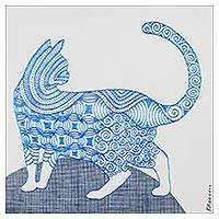 'Look At' - Signed Cubist Painting of a Cat in Blue from Thailand