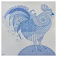 'The Wonderful Rooster' - Signed Cubist Painting of a Rooster in Blue from Thailand