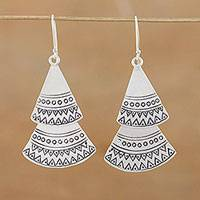 Silver dangle earrings, 'Shining Fans' - Karen Silver Fan-Shaped Dangle Earrings from Thailand