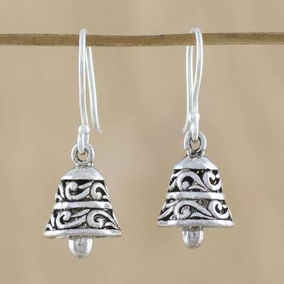 Sterling silver dangle earrings, 'Ringing Bells' - Handmade Sterling Silver Bell-Shaped Earrings from Thailand