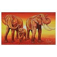 'Happy Family: Playing' - Signed Orange Expressionist Painting of Elephants