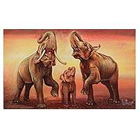 'Happy Family: Singing' - Signed Beige Expressionist Painting of an Elephant Family