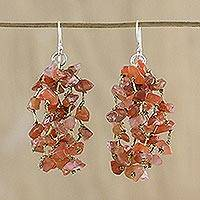 Carnelian waterfall earrings, 'Endless Rain' - Carnelian and Silk Waterfall Earrings from Thailand
