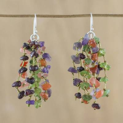 Multi-gemstone waterfall earrings, 'Shades of Jubilance' - Handmade Multi-Gemstone and Silk Earrings from Thailand