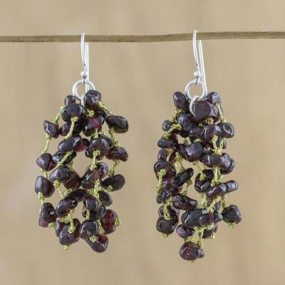Garnet waterfall earrings, 'Endless Rain' - Garnet and Silk Waterfall Earrings from Thailand