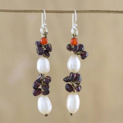 Multi-gemstone cluster earrings, 'Sumptuous Stones' - Cultured Pearl Multi-Gemstone Cluster Earrings from Thailand
