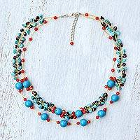Multi-gemstone beaded necklace, 'Magical Inspiration in Blue' - Multi-Gemstone Calcite Beaded Necklace from Thailand
