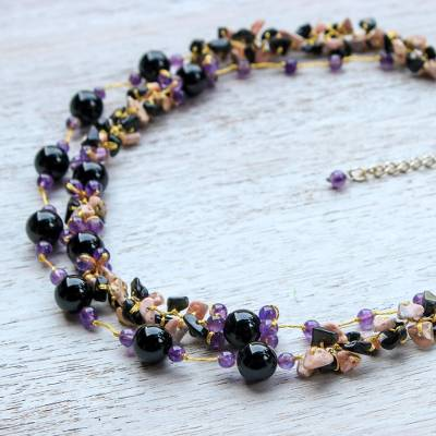 Multi-gemstone beaded necklace, 'Magical Inspiration in Black' - Multi-Gemstone Onyx and Silk Beaded Necklace from Thailand