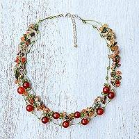 Multi-gemstone beaded necklace, 'Magical Inspiration in Scarlet' - Multi-Gemstone Carnelian Beaded Necklace from Thailand