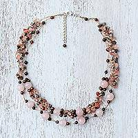 Multi-gemstone beaded necklace, 'Magical Inspiration in Pink' - Multi-Gemstone Rose Quartz Beaded Necklace from Thailand