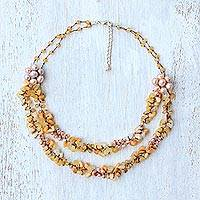Multi-gemstone beaded necklace, 'Flawless Fruit in Yellow' - Multi-Gemstone Cultured Pearl Beaded Necklace from Thailand