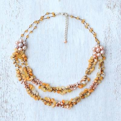 Multi-gemstone beaded necklace, Flawless Fruit in Yellow