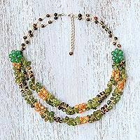 Multi-gemstone beaded necklace, 'Flawless Fruit in Green' - Multi-Gemstone Green Quartz Beaded Necklace from Thailand