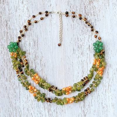 Multi-gemstone beaded necklace, Flawless Fruit in Green