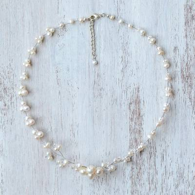 Cultured pearl beaded necklace, 'Glowing Cherry Blossom' - White Cultured Pearl and Glass Beaded Necklace from Thailand