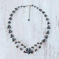 Cultured pearl beaded necklace, 'Dark Cherry Blossom' - Black Cultured Pearl and Glass Beaded Necklace from Thailand