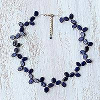 Lapis lazuli beaded necklace, 'Leafy Corona' - Lapis Lazuli Beaded Necklace from Thailand