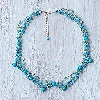 Multi-gemstone beaded necklace, 'Succulent Garden in Light Blue' - Blue Multi-Gemstone Beaded Necklace from Thailand