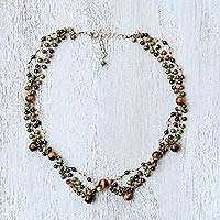 Multi-gemstone beaded necklace, 'Succulent Garden' - Earthy Multi-Gemstone Beaded Necklace from Thailand