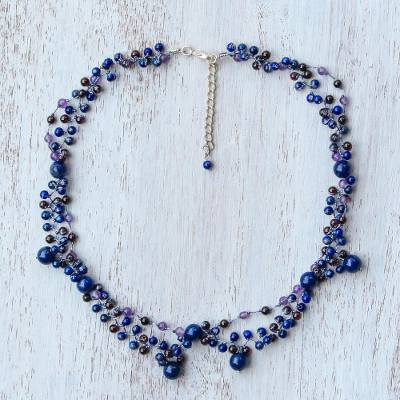 Multi-gemstone beaded necklace, 'Succulent Garden in Blue' - Deep Blue Multi-Gemstone Beaded Necklace from Thailand