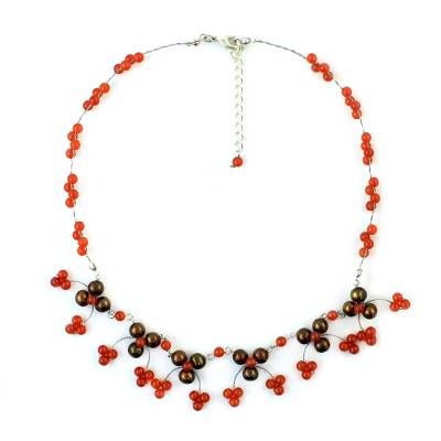 Carnelian and Pearl Waterfall Necklace from Thailand