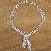 Quartz and cultured pearl lariat necklace,