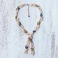 Multi-gemstone lariat necklace,