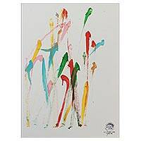 Elephant painting, 'Celebration' - Multicolored Original Elephant Painting from Thailand