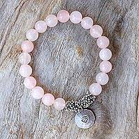 Rose quartz beaded charm bracelet, 'Rosy Charm' - Rose Quartz Beaded Bracelet with Karen Silver Om Charm