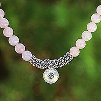 Rose quartz beaded pendant necklace, 'Rosy Charm' - Rose Quartz Beaded Necklace with Sterling Silver Om Pendant