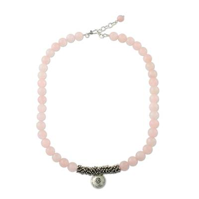 Rose Quartz Beaded Necklace with Sterling Silver Om Pendant