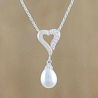 Cultured pearl pendant necklace, 'Cozy Heart' - Cultured Pearl and Cubic Zirconia Pendant Necklace