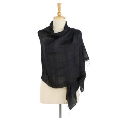 Silk shawl, 'Midnight Breeze' - Handcrafted Fringed Silk Shawl in Black from Thailand